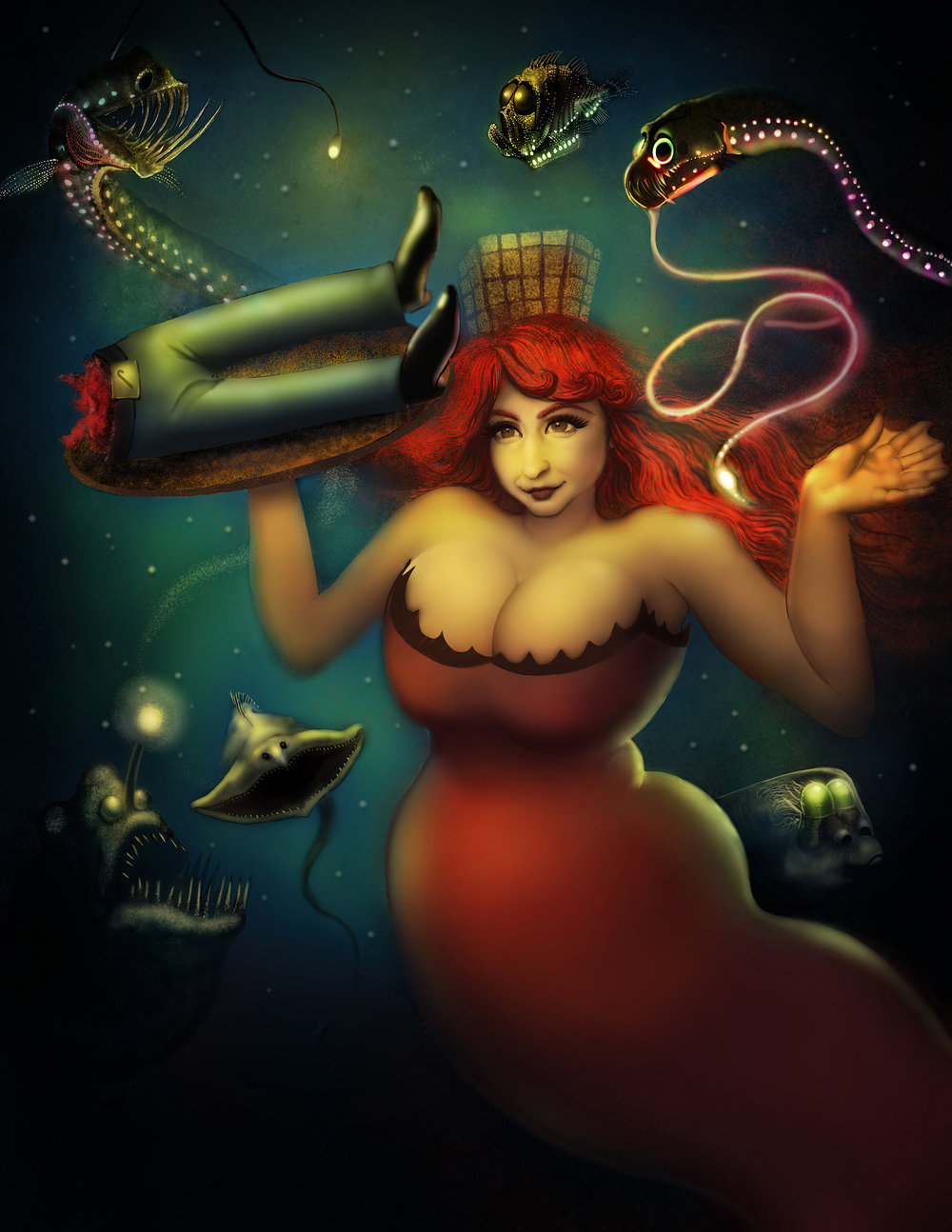 ATARGATIS–Digital painting. Illustration showing Syrian goddess and first mermaid, Atargatis.