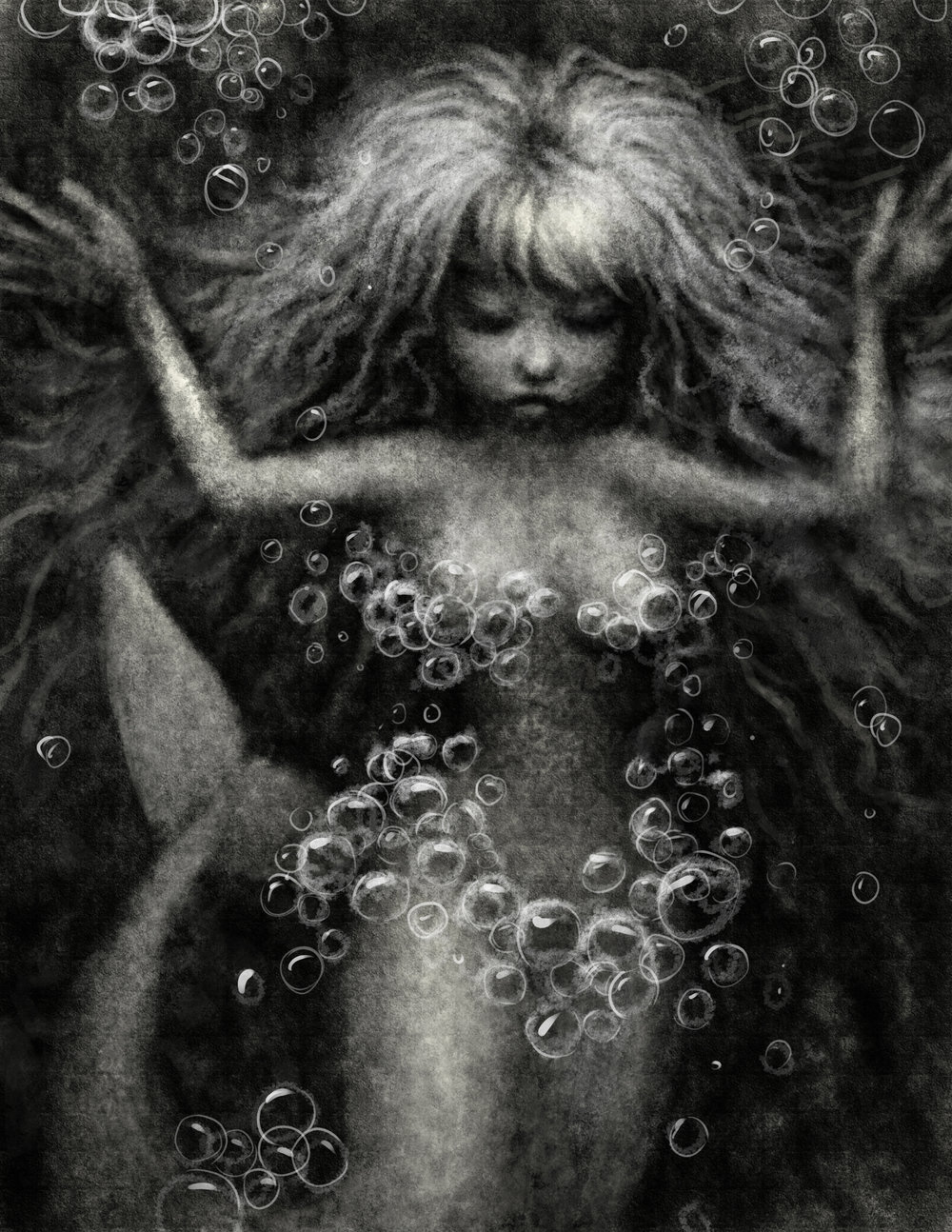 BUBBLES–Digital graphite. Conceptual illustration of mermaid playing with a bubble net.