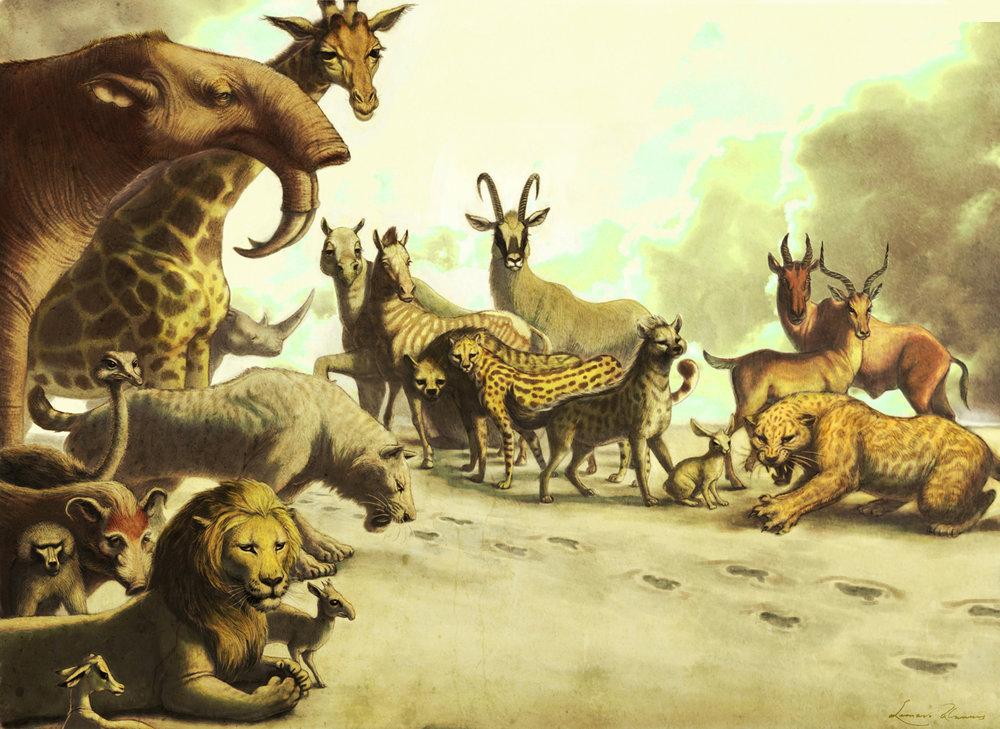 FOOTPRINTS OF LAETOLI–Graphite, ballpoint pen on paper and digital color. Scene depicting all non-Hominin fauna of Laetoli, Tanzania.