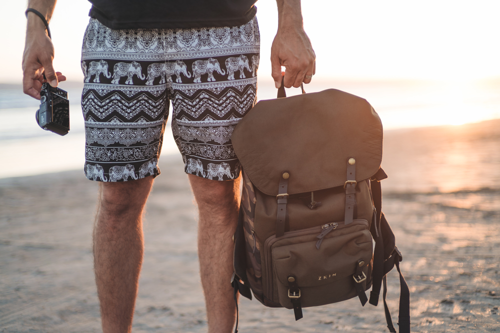 ZKIN Yeti backpack at the beach