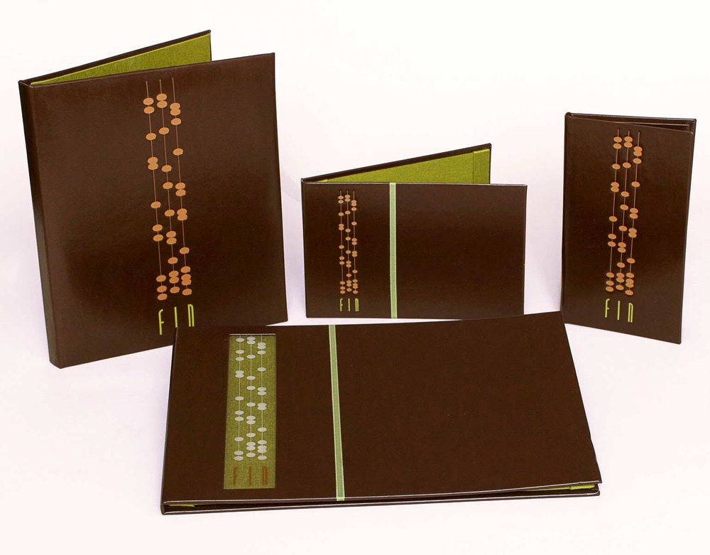 Gold AIGA Award 2006,  Business Collateral Print     FIN, contemporary Chinese cuisine at the Mirage Hotel & Casino