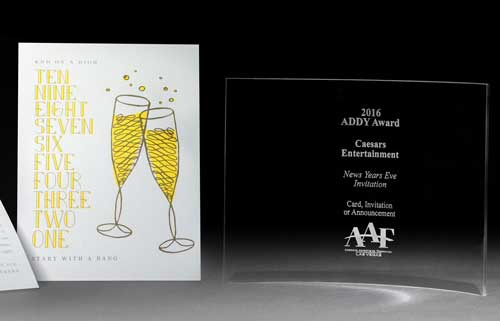 Silver ADDY Award 2016,  Invitation     Caesars Entertainment New Year's Design Directors: Gabriel Garcia Designers: Renee P. and Karen L.