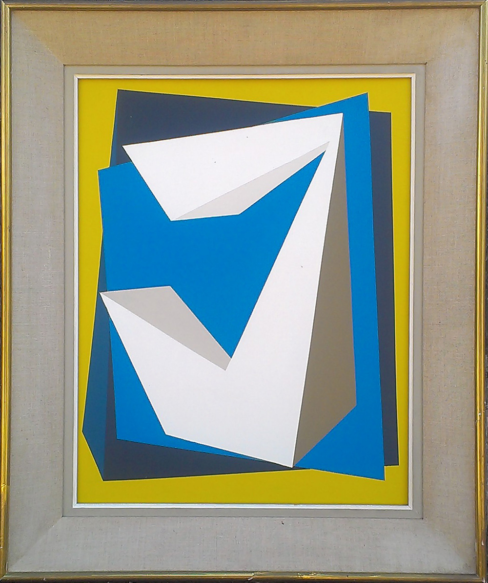 Geometric Overlay (Blue/Yellow)