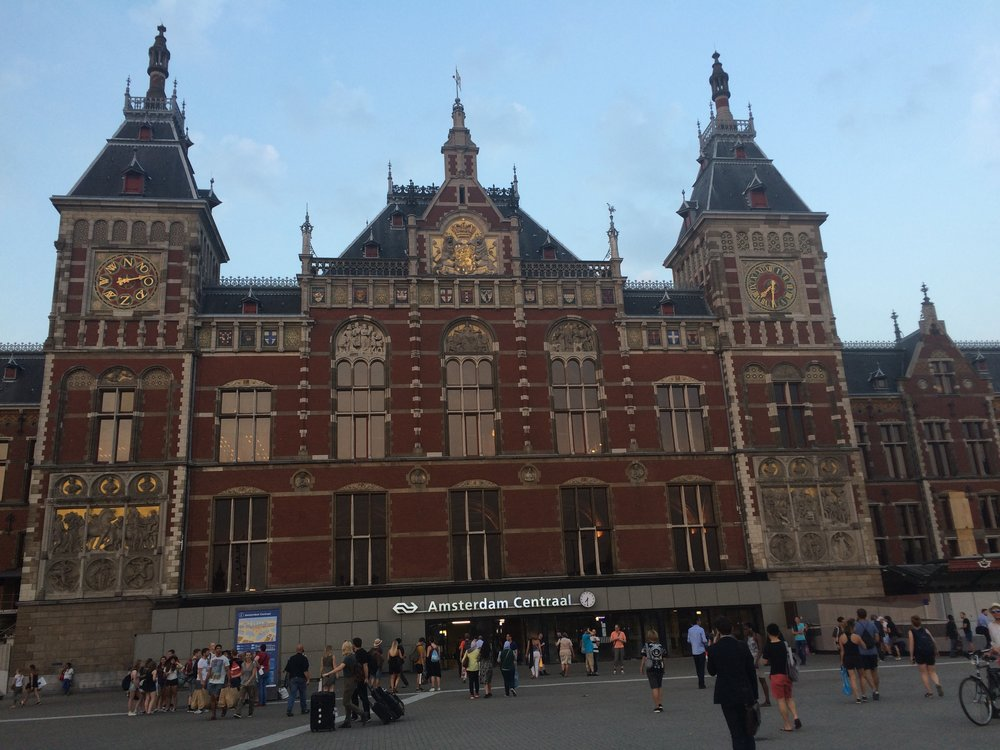This is the central train/subway station in Amsterdam: Amsterdam Central. If I were smarter, I would have caught some footage of the piano set I did inside. Anyway, I just thought the architecture in Amsterdam was whimsical.