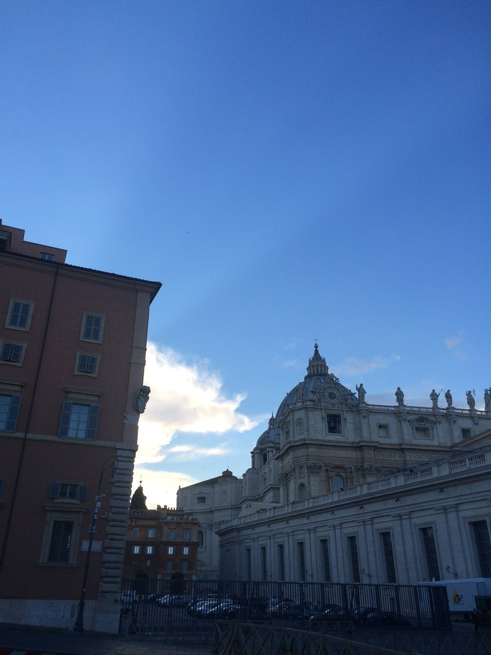 Just outside Vatican City. I liked the rays of light coming from behind the building on the left.