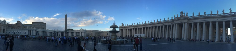 The other half of St. Peter's square. On top, you can't see from this view, are statues of popes, saints, gods and goddesses, and caesars. As I actually went through Vatican city, that mix of mythology, politics, and religion, kept puzzling me. I still haven't fully processed it.