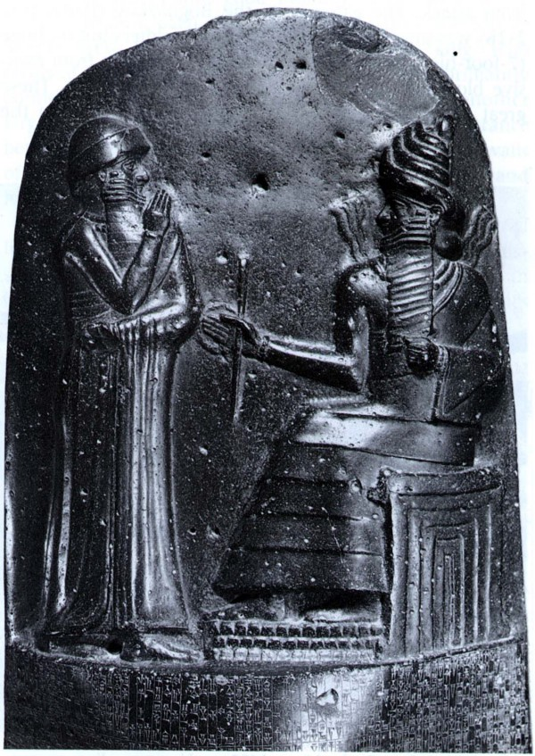 Hammurabi's Stele, depicting Shamash (the Babylonian god of justice) giving Hammurabi the prerogative to make laws.