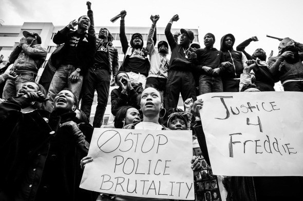 Demonstrations in Baltimore after the death of Freddie Gray. Photo by Shawn Hubbard.