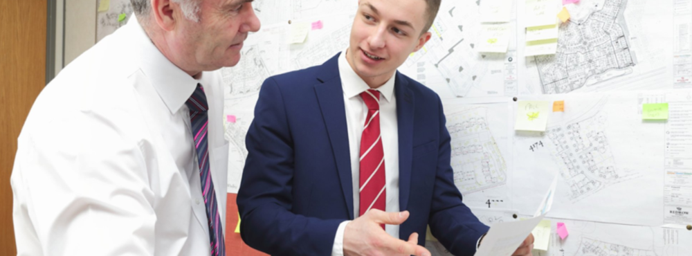 National Apprenticeship Week 2016: Lancashire apprentice Ben Finch and construction director Keith Collard of Redrow Homes (www.gov.uk)