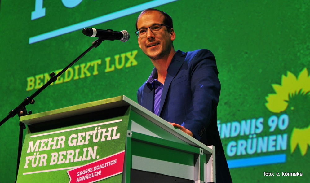 Benedikt Lux bei der Grünen Berlin LMV Foto: c. könneke