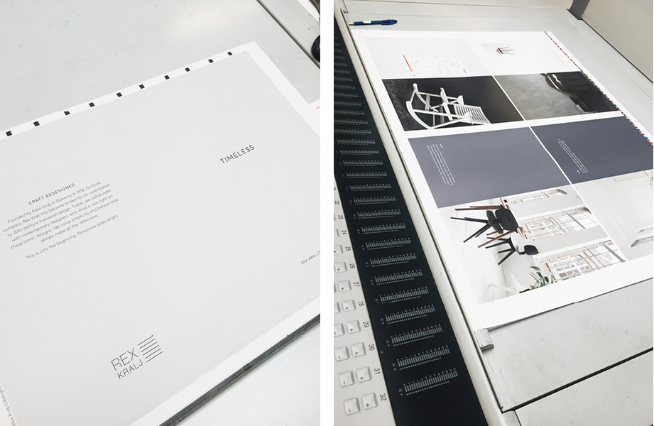 Here you can see the first pages of the catalogue on the press, back in early January!