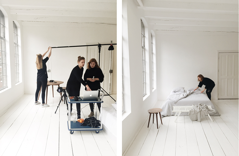 Behind the scenes at the first one out of four days of fotoshoots. This particular shoot took place in a daylight studio in Amsterdam.