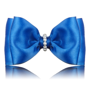 Silver Beaded Satin Blue Dog Bow Tie