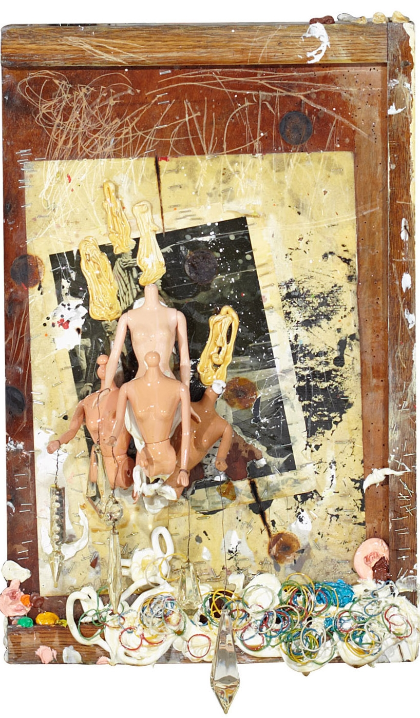 Barbie dolls, rubberbands and oil on paper and woodbox 66x38cm