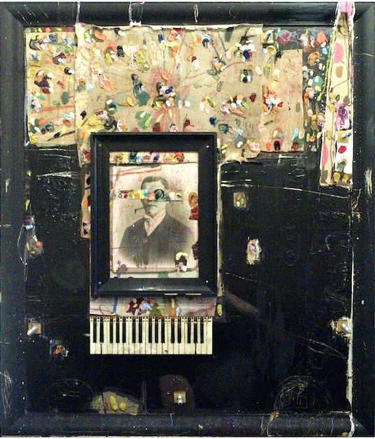 Oil on original 1800s drawing and keyboard on canvas and wood 195x165cm