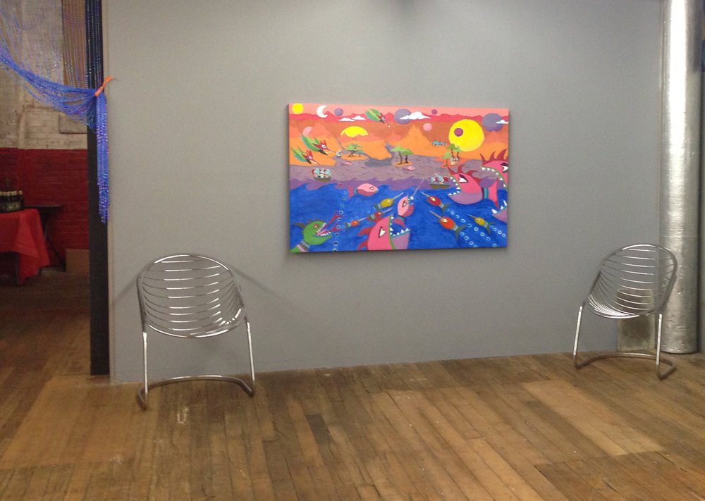 "A Day in The Life, 58"" x 28"" as it hung in the gallery during the show."