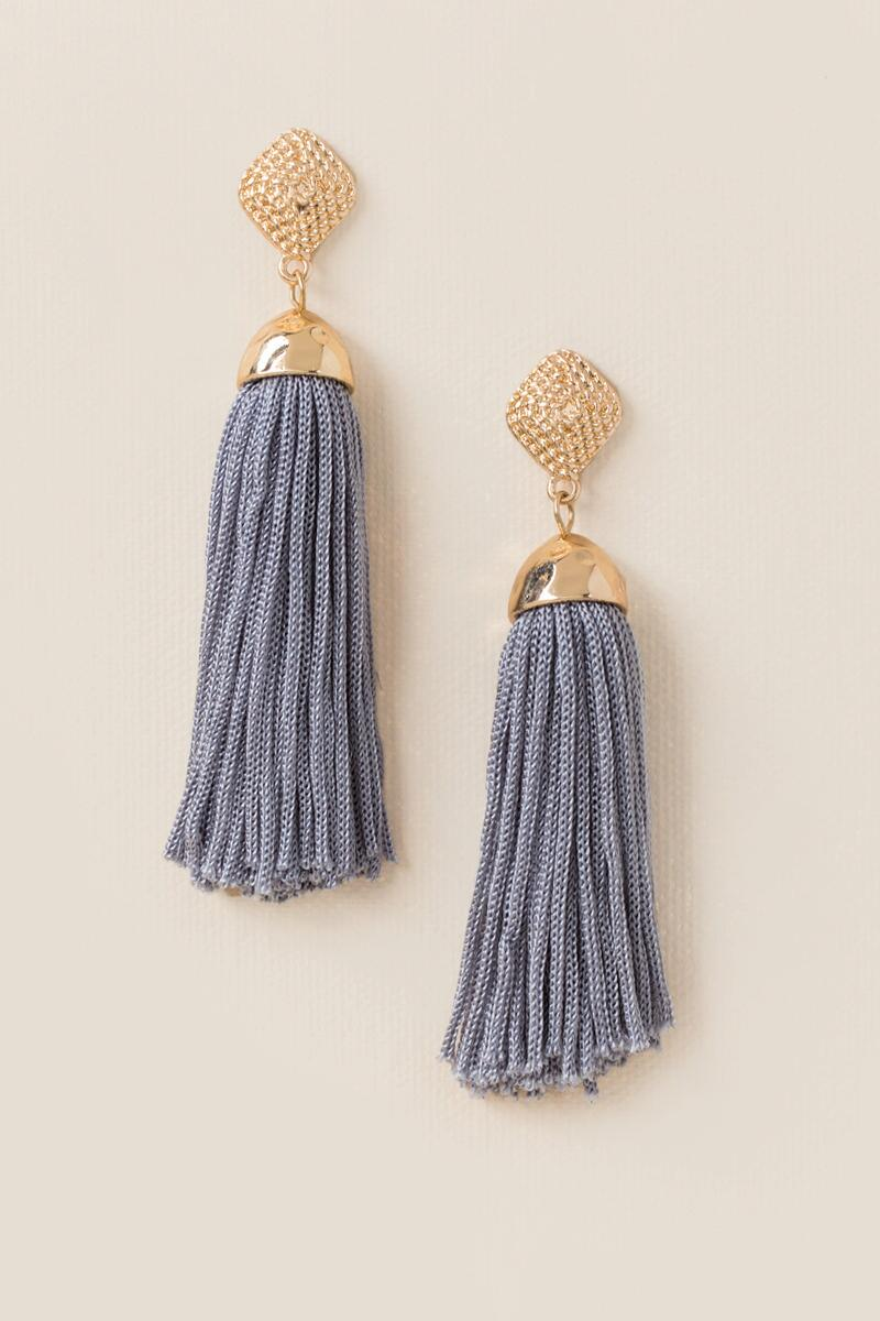 Kyla Tassel Earrings - Statement earrings are feminine, fun and perfect for spring! I love them in gray, but they also come in Mauve. These cuties are just $16 from Francesca's.