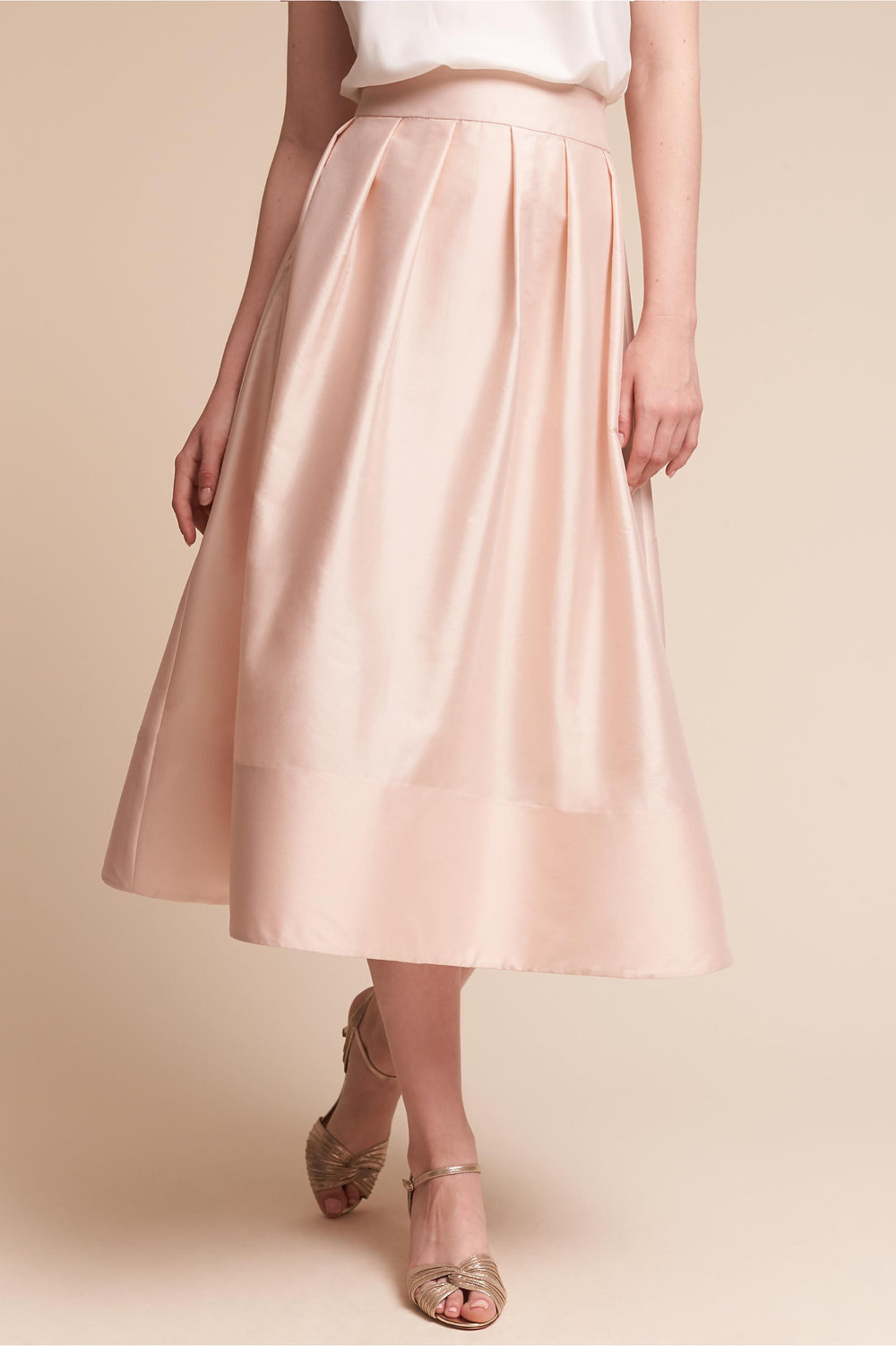 Rockport Skirt - Think outside the (dress) box and consider a beautiful skirt! Bridesmaids can pair with their own strappy tank to complete the look.Price: Retail $160, now just $60 on BHLDN (hurry! sizes limited)