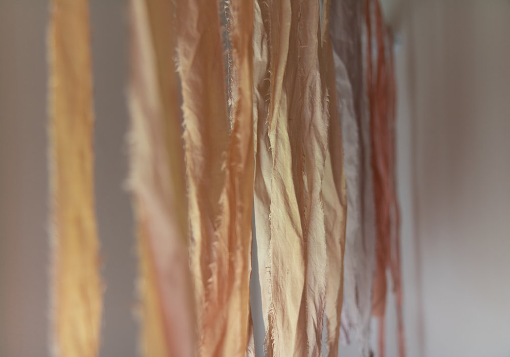 Pretty ribbons hanging to dry