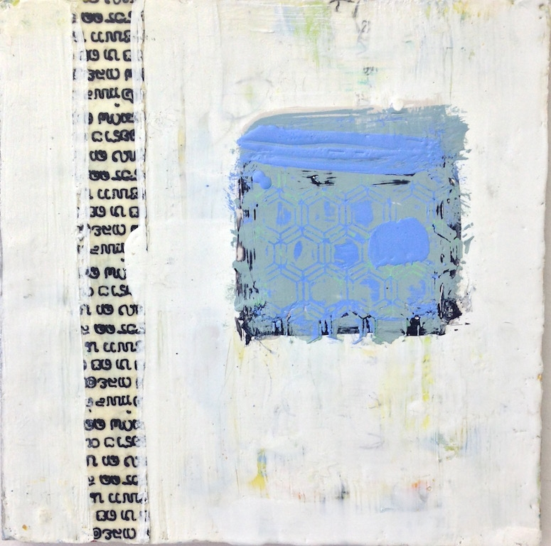 Honeycomb blues, encaustic and collage, 12%22x12%22.jpg