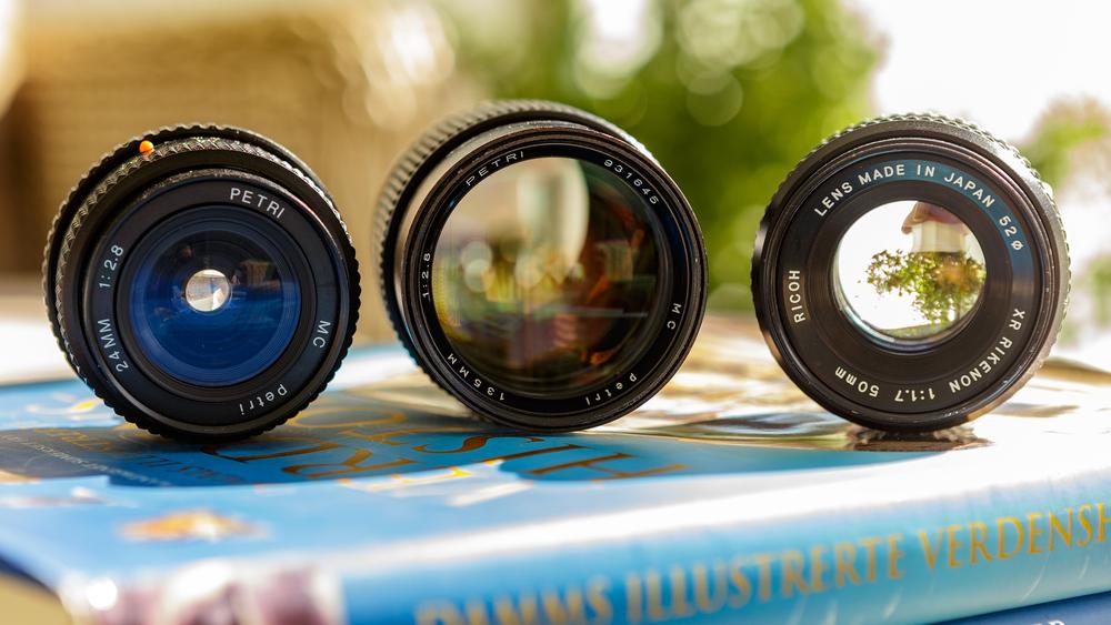 Left to right: Petri 24mm f/2.8 MC, Petri 135mm f/2.8 MC, Ricoh XR Rikenon 50mm f/1.7