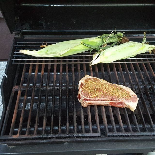 Camp dinner#steak#corn on thecob#grilling# bbq