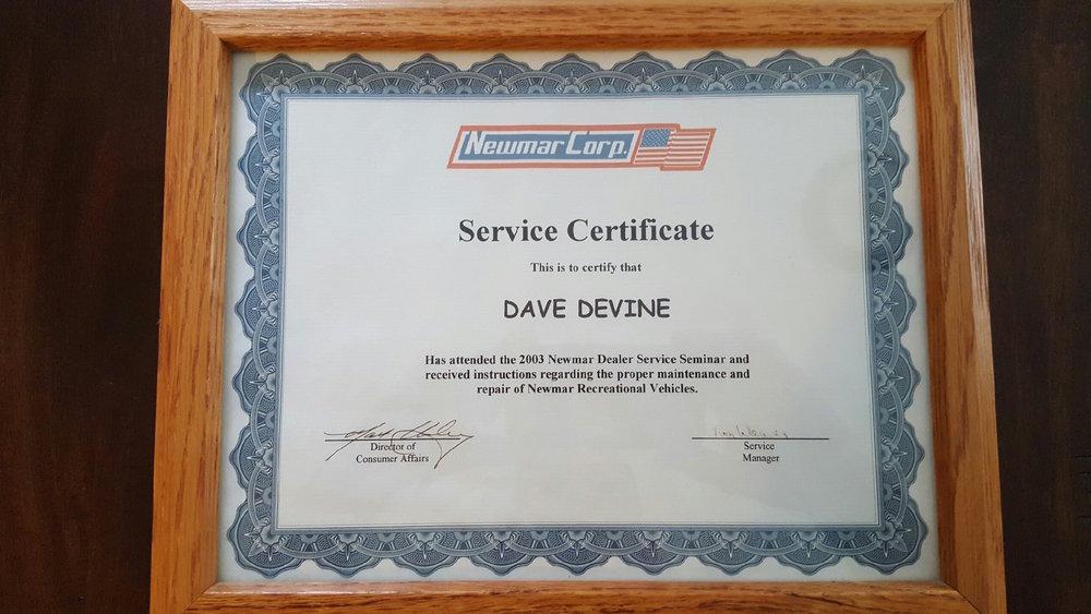 Newmar Corp. Service Certificate