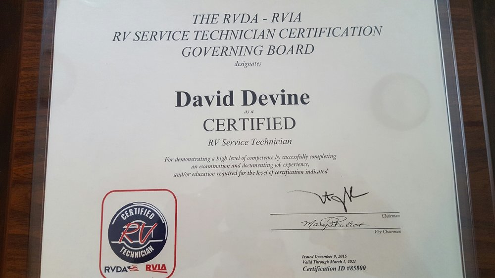 RVDA - RVIA Service Technician Certification