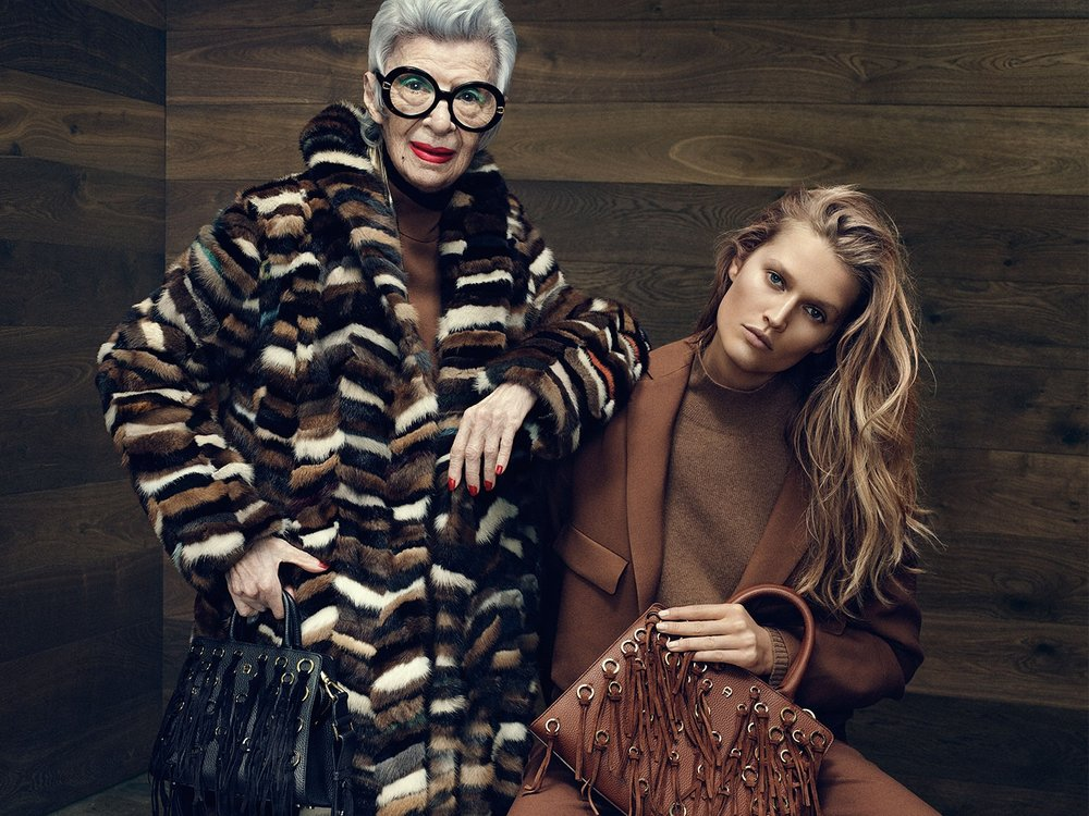 AIGNER CAMPAIGN FALL / WINTER 2016 With Iris Apfel and Toni Garrn Shot by: Terry Tsiolis