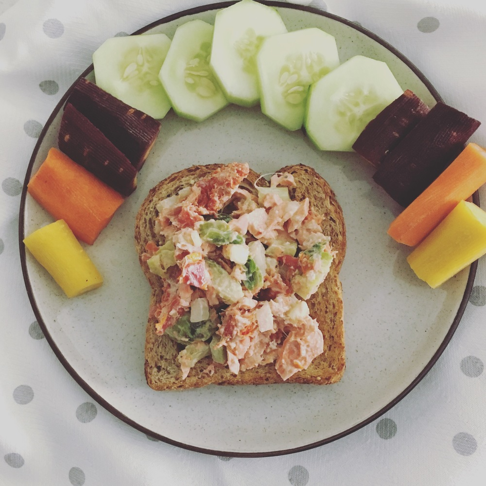 Don't forget my simple Salmon Salad Sammyrecipe for a meatless option!