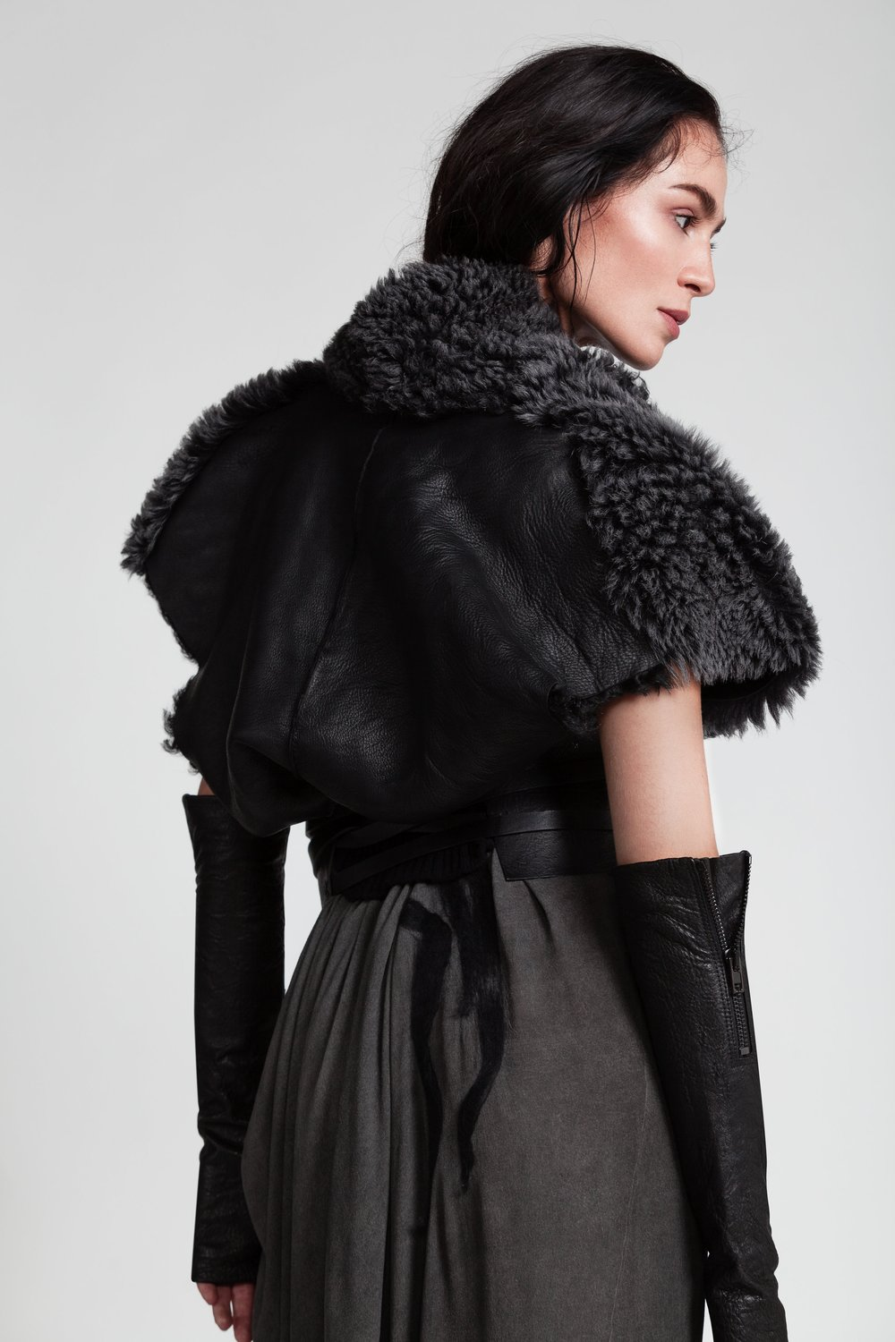 Fur-Coat and Dress by Lost&Found, Belt and Gloves by Isabel Benenato