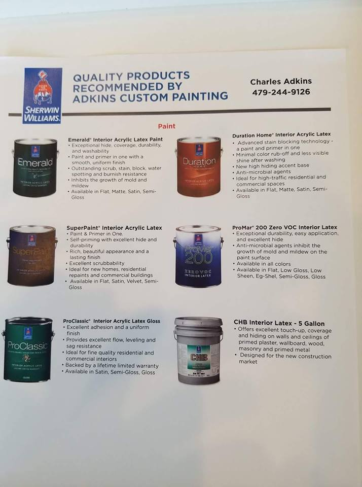 Recommended Paint Products
