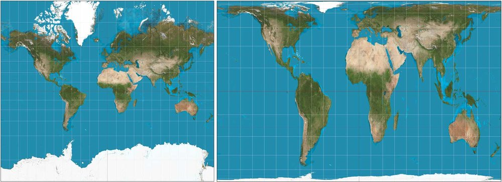 The Mercator and Gall-Peters map projections  By Strebe - Own work, CC BY-SA 3.0, https://commons.wikimedia.org/w/index.php?curid=16115307 https://commons.wikimedia.org/w/index.php?curid=16115242