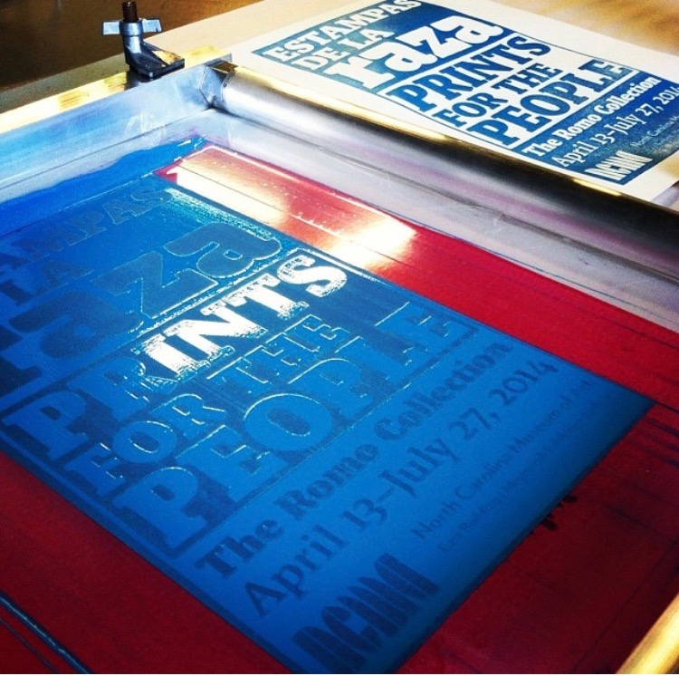 Screen and print for  Estampas de la Raza  promotional poster.  (Big thanks to Bill Fick and Supergraphic for studio time and support.)