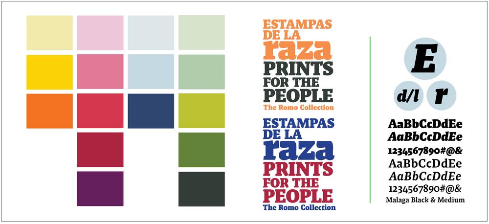 Title treatment and color palette for  Estampas de la Raza/Prints for the People  exhibition .