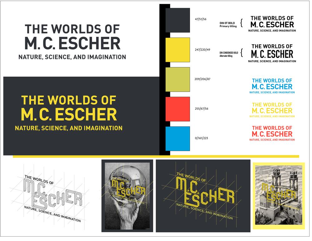 Primary and secondary title treatments for  The Worlds of M. C. Escher  with color palette and poster drafts.