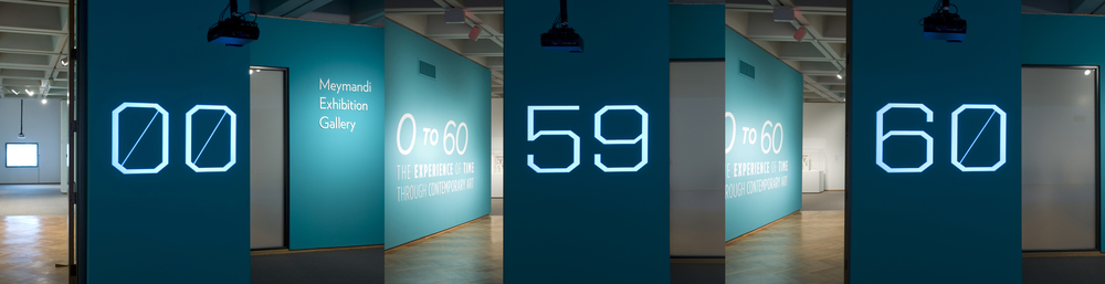 Animated projection title wall (counting up from 00 to 60) for  0 to 60: The Experience of Time through Contemporary Art .