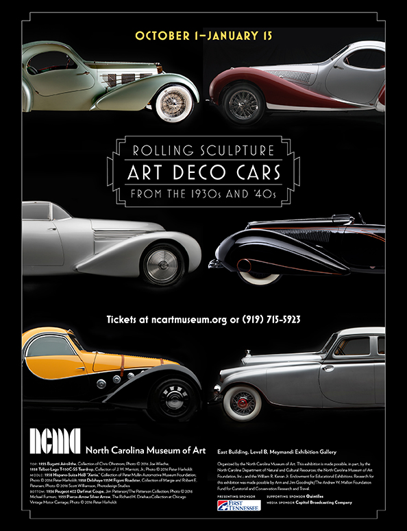 Our State  magazine ad for  Rolling Sculpture: Art Deco Cars from the 1930's and '40s