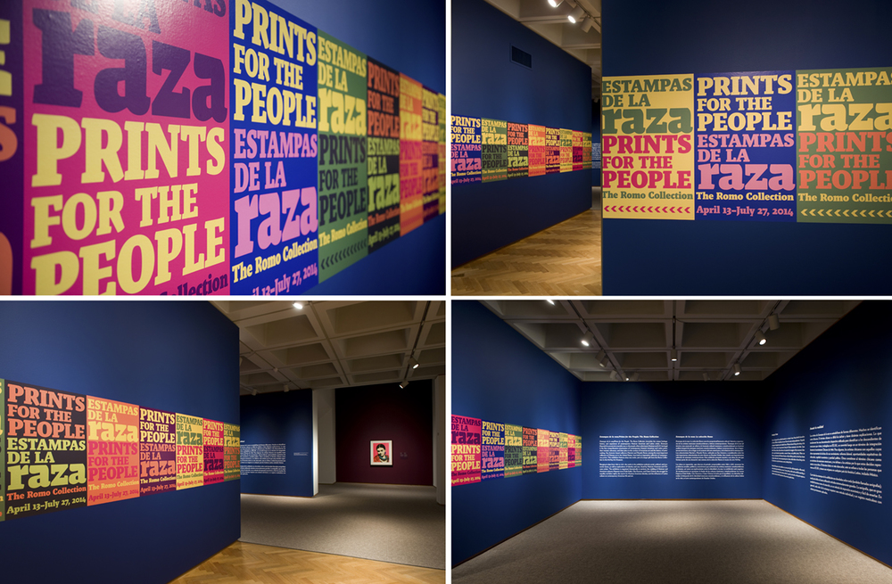 Title wall and introductory gallery for  Estampas de la Raza/Prints for the People  exhibition.