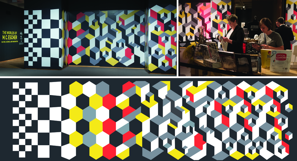 Title wall and entry mural for  The Worlds of M. C. Escher.