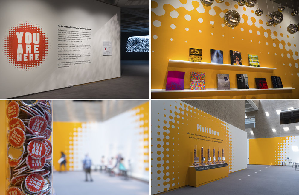 You Are Here: Light, Color, and Sound Experiences  exhibition graphics