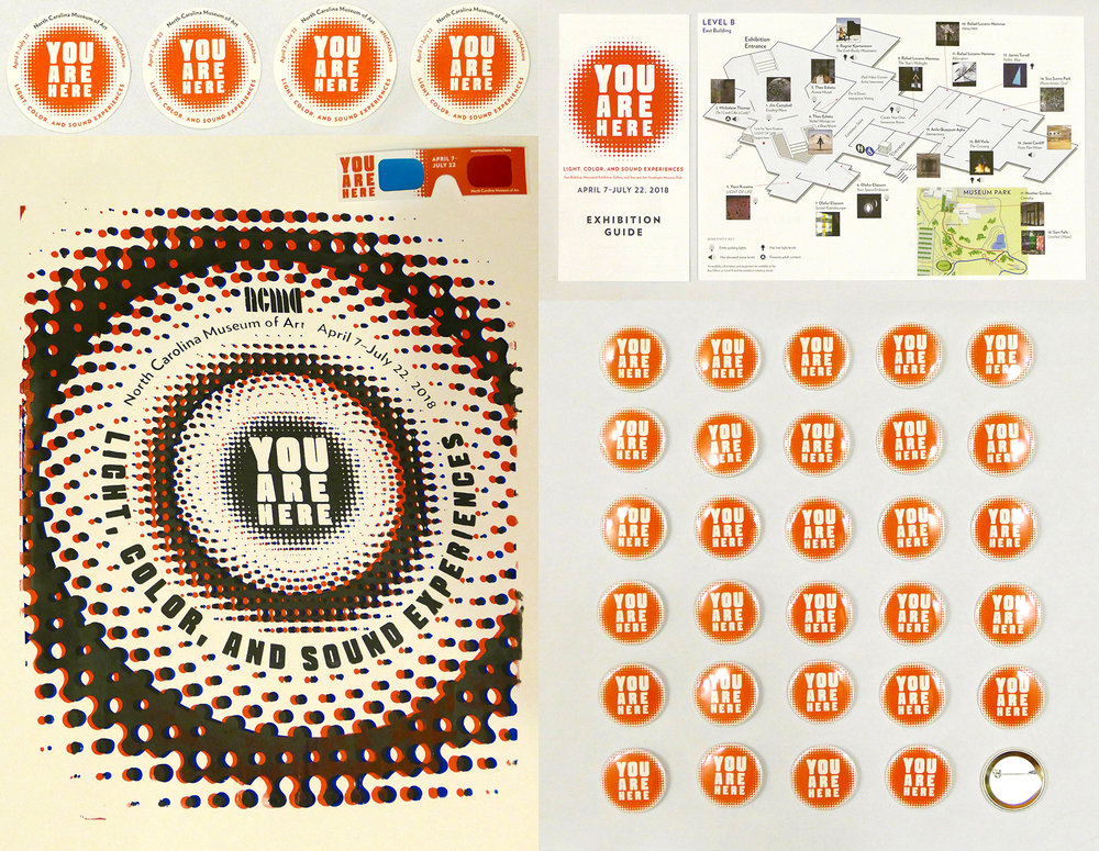 You Are Here: Light, Color, and Sound Experiences  materials (drink coasters, badges, exhibition guide, and 3-D poster with glasses)