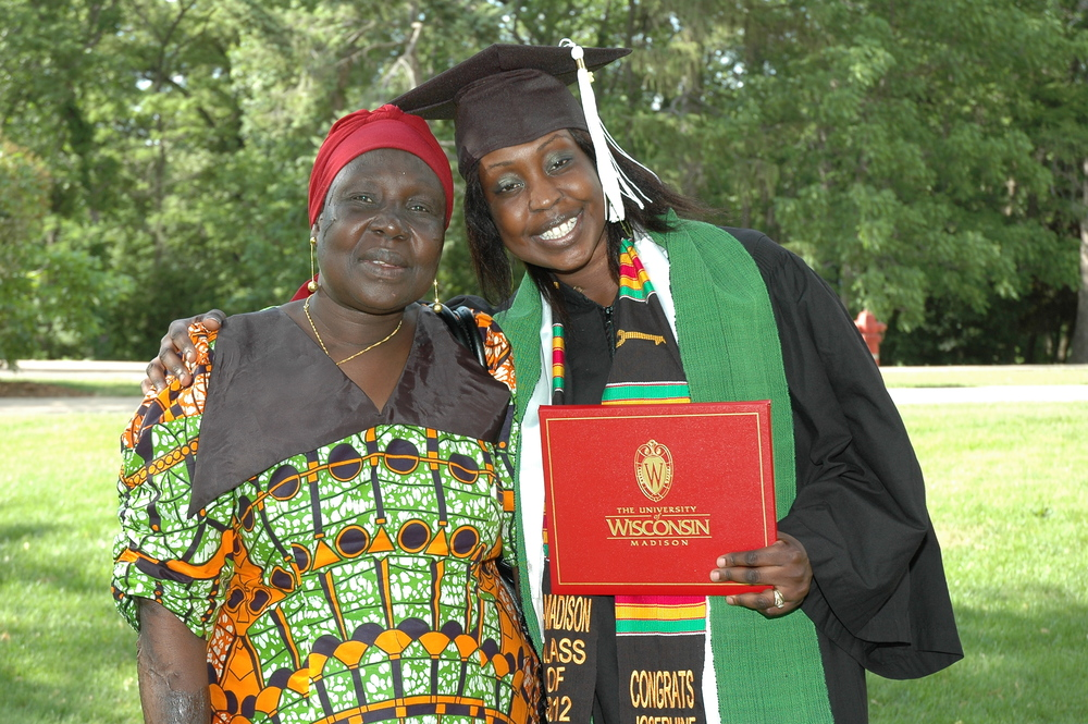 Josephine Lorya-Ozulamoi getting her UW degree with her Sudanese mother. Learn more at  UW Odyssey Project .