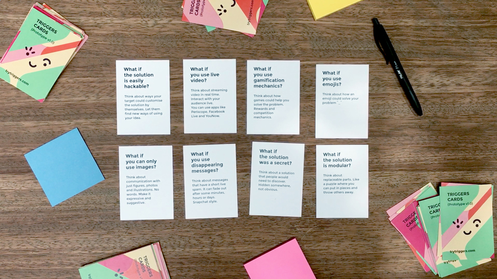 Prototype of the brainstorming tool Triggers cards