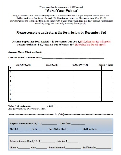 deposit format  Costume Deposit Form — Integrity School of Dance