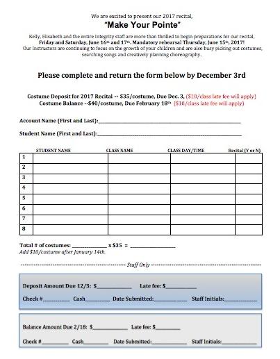 deposit format  Costume Deposit Form — Integrity School of Dance