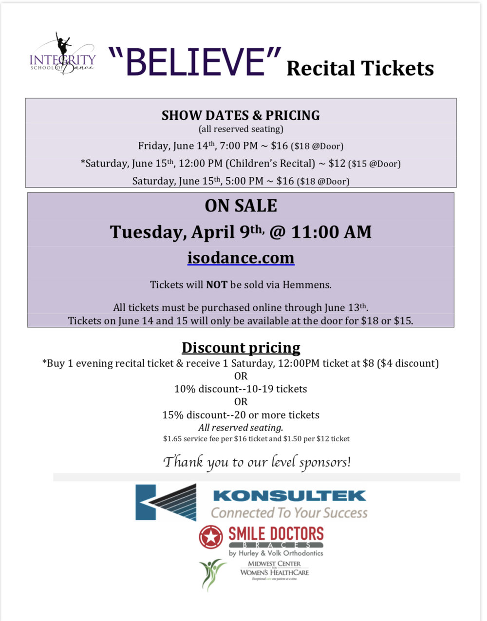 Click image to view Recital Tickets Information