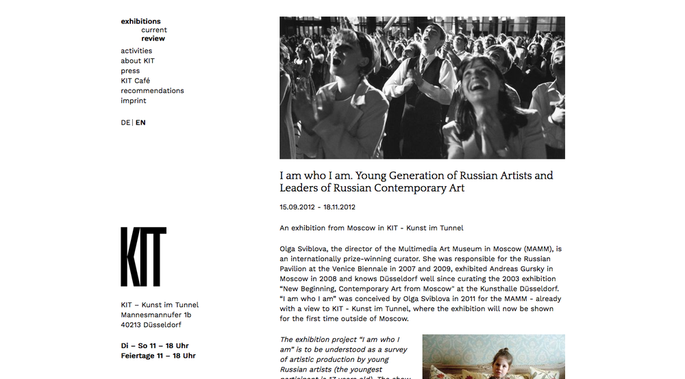 2012 I am who I am. Young Generation of Russian Artists and Leaders of Russian Contemporary Art