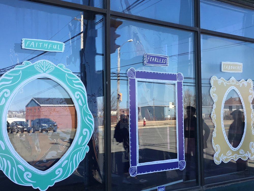 Apperception, 2018 - Part of the SmART Spaces initiative presented by Lumière, CBRM and the Sydney Waterfront District.Apperception is an interactive art work. Large illustrated frames coupled with adjectives act like mirrors to hold space for your reflection. This temporary work was installed on the large windows of a local business. Vinyl stickers were used to create the frames, adding to the temporary nature of the piece.