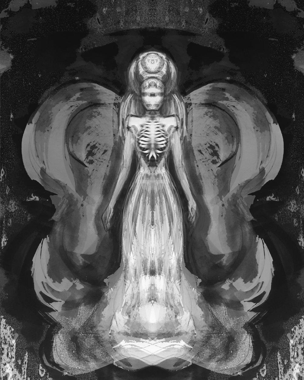 #originalartwork #ink #paint #paper #sketch #disturbia #whitedress #conceptualfashion #design